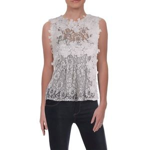 AQUA Daisy Peplum Top Lace Applique White Blouse